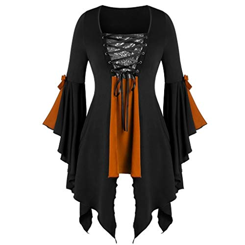 Top Political Halloween Costumes 2019 (aihihe Women Halloween Gothic Witch Costume Tops Plus Size Sexy Lace Up Patchwork T Shirt Dress Tunic Blouses Cosplay)