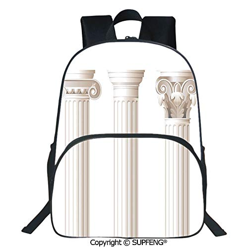 SCOXIXI Laptop Backpack Architecture Theme Design Ionic Doric and Corinthian Marble Columns Digital Print (15.75