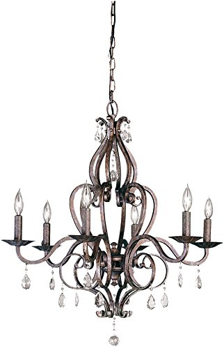 Feiss F1798/6PBR Mademoiselle Crystal Candle Chandelier Lighting, Bronze, 6-Light, 360watts from Murray Feiss