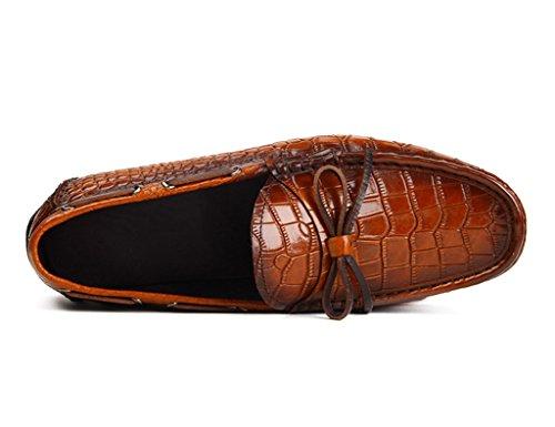 HWF Scarpe Uomo in Pelle Primavera Estate Piselli Scarpe da uomo in pelle Scarpe stile inglese traspirante scarpe casual da guida (Colore : Nero, dimensioni : EU42/UK7.5) Marrone