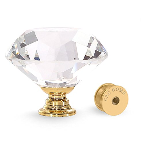 - CZC HOME 25 PCS Crystal Glass Pull Handle Cupboard Cabinet Knobs Drawers Shutters Dressers Bathroom (40mm, Gold)