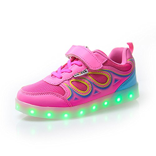 DoGeek Zapatos LED Niños Niñas Negras Blanco 7 Color USB Carga LED Zapatillas Luces Luminosos Zapatillas LED Deportivos Para Hombres Mujeres (Elegir 41 Tamaño Más Grande) Rosa 1