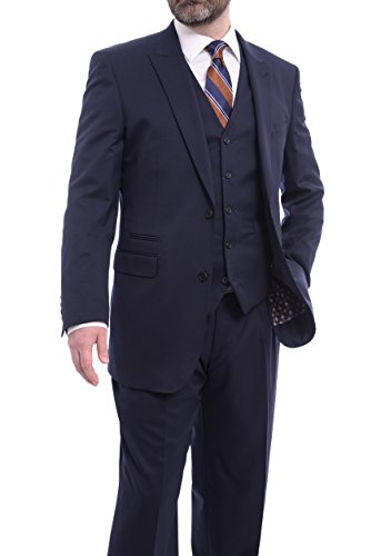 150s Wool Suit - Extrema Classic Fit Solid Navy Blue Three Piece Super 150s Wool Suit Peak Lapels
