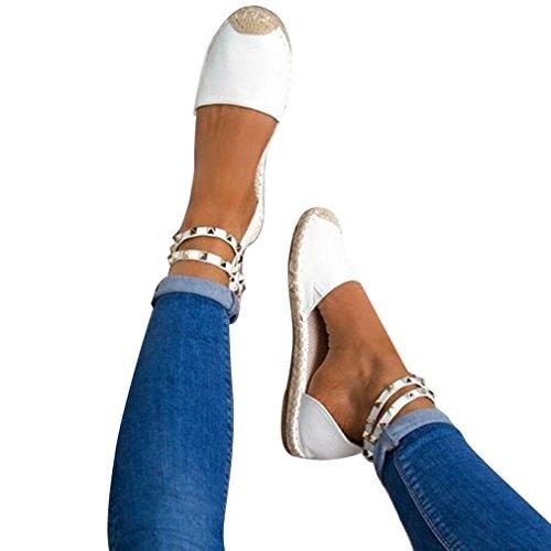 Strappy Flat Shoes Estivi Espadrillas Caviglia On Bianco Rock Scarpe Piatte Stud Sandali Donna Da Slip Studs x06qvz6