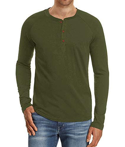 - Mr.Zhang Men's Casual Slim Fit Long Sleeve Henley T-Shirts Cotton Shirts Army Green-US S