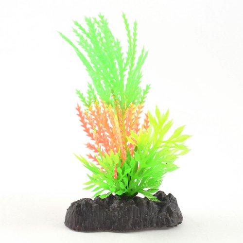 Water & Wood Fish Tank Decor Green Light Orange Plastic Glow Light Water Plant w Stone Base
