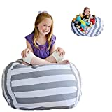 Creative QT Extra Large Stuff 'n Sit - Stuffed Animal Storage Bean Bag Chair for Kids - Pouf Ottoman for Toy Storage - Available in 2 Sizes and 5 Patterns (38', Grey/White Stripe)