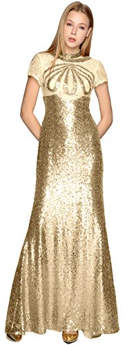 MACloth Sequin Dress Neck Prom Sleeves Evening Formal Gold Illusion Light High Short Gown xpnZxUTq