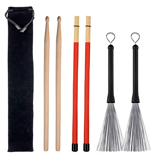 Drum Sticks Set, 1 Pair Drum Wire Brushes Retractable Drum Stick Brush, 1 Pair Rods Drum Brushes and 1 Pair 5A Classic Maple Wood Drum Sticks for Jazz Folk Music Gift Total 3 Pairs with Storage Bag ()