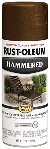 Spray Patio Paint - Rust-Oleum 210880 Hammered Metal Finish Spray, Brown, 12-Ounce