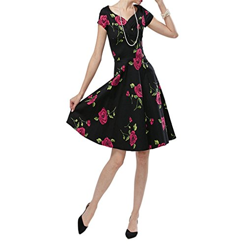 HUIJSNQ Women Vintage Dress Rockabilly Swing Retro Rose Floral Vestidos Ball Gow Party Prom Plus Size Cotton Dress at Amazon Womens Clothing store: