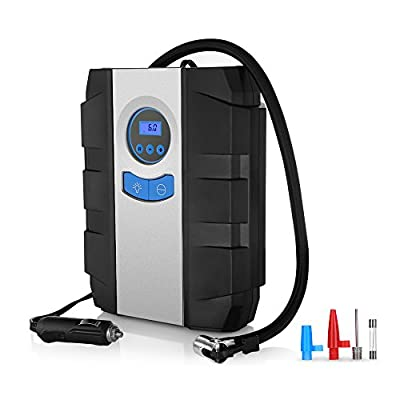 Portable Air Compressor Pump for Car Tires, Auto Digital Tire Inflator with gauge 150 psi 12v 3 High-air Flow Nozzles & Adaptors for Cars, Bicycles and Other Inflatables