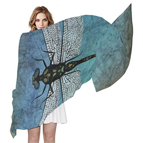 (Grunge Vintage Dragonfly Bug Women's Shawl Fashion Scarf Silk Like Wrap for Dresses Wedding)