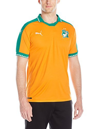 PUMA Men's Ivory Coast Home Replica Shirt, Flame Orange/Pepper Green, X-Large