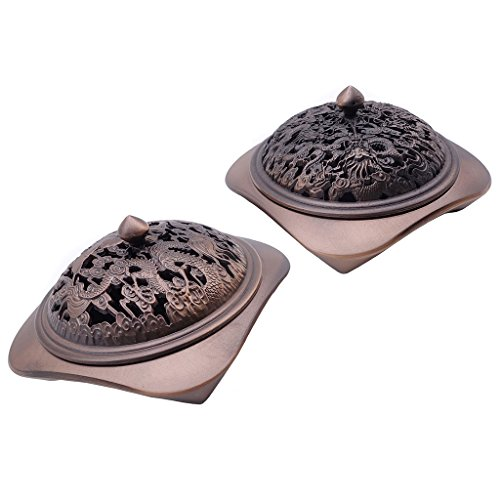 - TRENDBOX Set of 2 Incense Holders (Carved Dragons + Carved Phoenix Dragon) - Vintage Design Bronze Cone Furnace Sandalwood Coil Burner Plate Holder Ash Catcher Chinese Traditional Buddhist