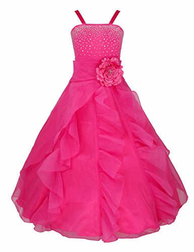 iEFiEL Ladys Girl Rhinestone Organza Flower Dress Pageant Holiday Prom Gown Fuchsia (Girls Pageant Dress Size 6)