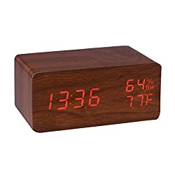 LED Alarm Clock,Hopesooky Wooden Digital Alarm Clock Sound Activated Display with Time Date Temperature Humidity (Brown)