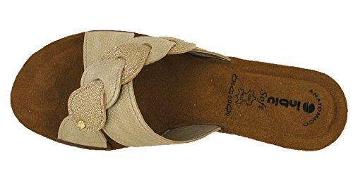 INBLU Damen Sandalen mit Keilabsatz GM019 Platin