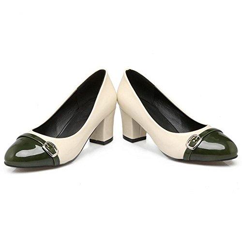 COOLCEPT Zapato Mujer Western Tacon Ancho medio Sin Cordones Mixed Colors  Court Zapatos With Hebilla Verde Pago de Visa 0147d5337190