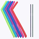 ZLR Silicone Straw Curved with 2 Cleaning Brush Colorful Portable Resuable Silicone Straws Set of 6 Eco-Friendly Included 2 pack Stainless Steel Straws
