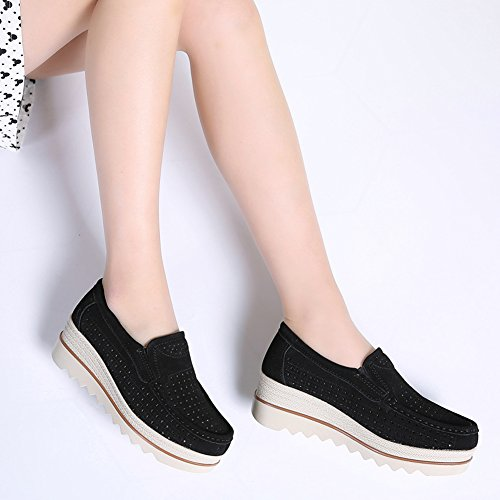 Sneakers Platform for Black Out Women hollow Wedge Slip Suede Comfortable Shoes YKH On Loafers Work 8BAgpwqp