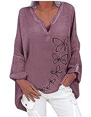 ZouYiL Oversized linnen blouse met lange mouwen voor dames, elegante casual print, tops, V-hals, longshirt, basic tuniek, losse lange tops met madeliefje paardenbloem, zonnebloem, linnen hemd