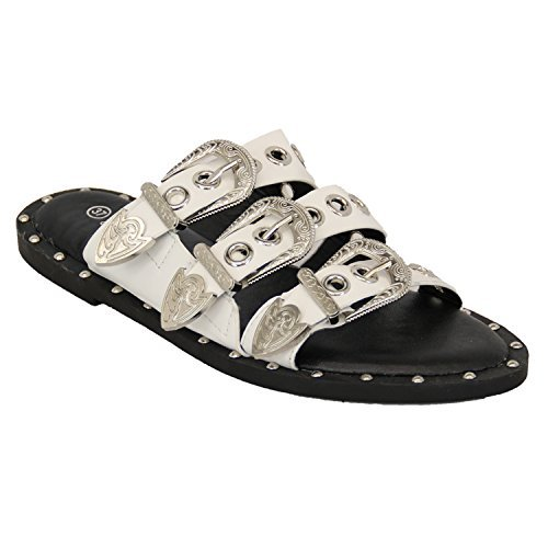 Ladies Slip On Buckle Sandals Womens Flat Open Toe Mule Sliders Studded Summer White - Fn376 8AQcv2