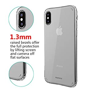 "iPhone X case, 0.035"" Ultrathin Fit Transparent Crystal Clear One-Line Frosted Soft TPU with Air Cushion for Full Shock Absorption Bumper Support Wireless Charging, White"