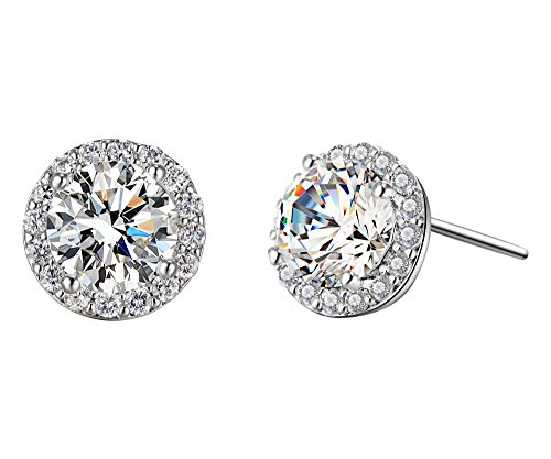 Mocalady Jewelry Stud Earrings Setting Cubic Zirconia Crystal Round Shape Fashion Jewelry for Women - Repo Man Costume For Sale