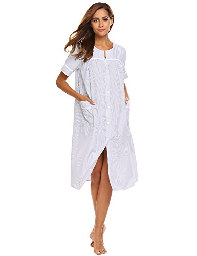 Ekouaer Women's Striped Sleepwear Button Down Duster Short Sleeve House Dress Nightgown (Navy,XL)