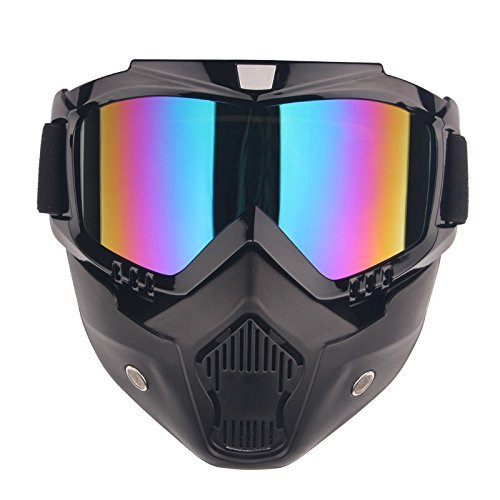 BOROLA Tactical Paintball Mask, Retro Harley Motorcycle Goggles With Removable Face Mask, Airsoft Safety Goggles Mask UV400 Protection For Nerf N-strike Elite Toy Gun Game Rival ()