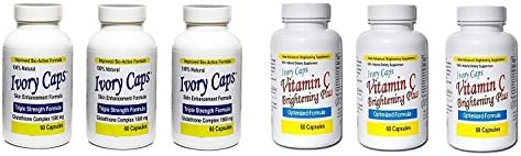 Ivory Caps Skin Whitening Lightening 1500mg Glutathione Support Pill + Vitamin C Brightening Plus (Pack of 3)