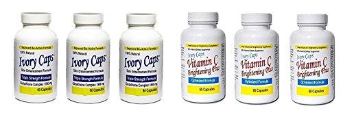 Ivory Caps Skin Whitening Lightening 1500mg Glutathione Support Pill + Vitamin C Brightening Plus (Pack of 3)