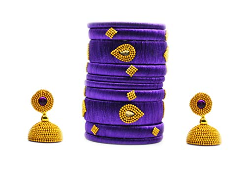 GOELX Festive Offer: Handcrafted Designer Silk Thread Bangles with Jhumka for Women in Purple Colors - 2.10 ()
