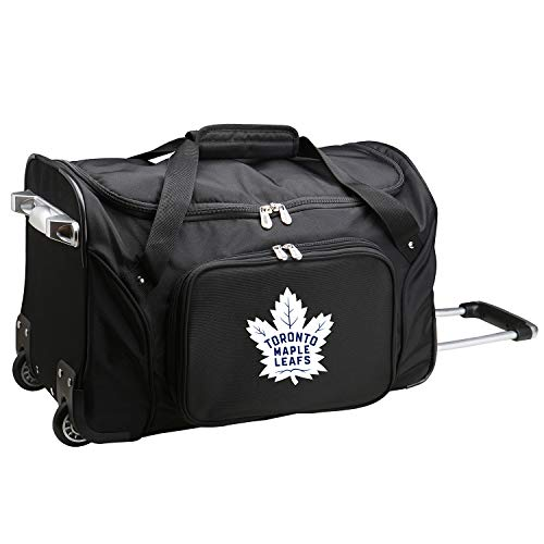 NHL Toronto Maple Leafs Wheeled Duffle Bag, 22 x 12 x 5.5, Black - Maple Leaf Button