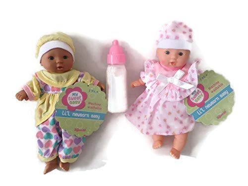 Toysmith Baby Dolls 2 Mini Baby Dolls Caucasian + African American Outfits May Vary + Disappearing Milk Baby Doll Bottle Ages 3yrs +