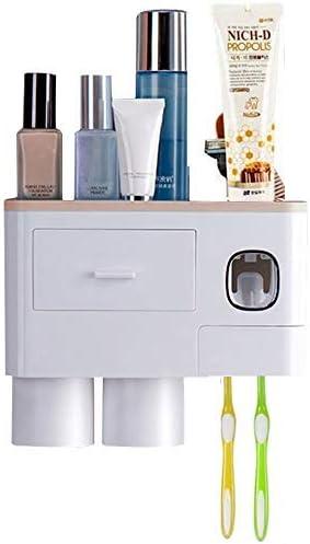 Bo/îte de Rangement pour Brosse /à Dents peu Encombrante WREWING Porte-brosse /à Dents,Mural Multifonctionnel Distributeur Automatique de Dentifrice 2 Tasses(Bleu)