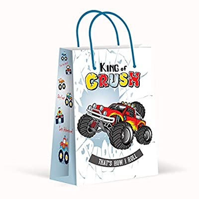 Premium Monster Truck Party Bags, Party Favor Bags, Treat Bags, Gift Bags, Goody Bags, Party Favors, Party Supplies, Decorations, 12 Pack: Toys & Games