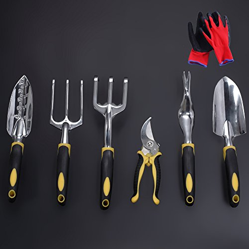 Garden Tools Set, Contains 6 pieces - Transplanter, Including Trowel, Cultivator, Weeding Fork, Weeder and Secateur. Heavy Duty Cast-aluminum Heads Ergonomic Handles.FREE Work Gloves. by Sougem