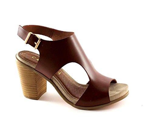 CAF NOIR LB914 sandalias de cuero marrón mujer tira del talón 37