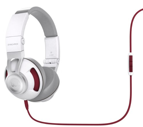 JBL Synchros S300 Premium On-Ear Stereo Headphones with Universal Remote, White/Red