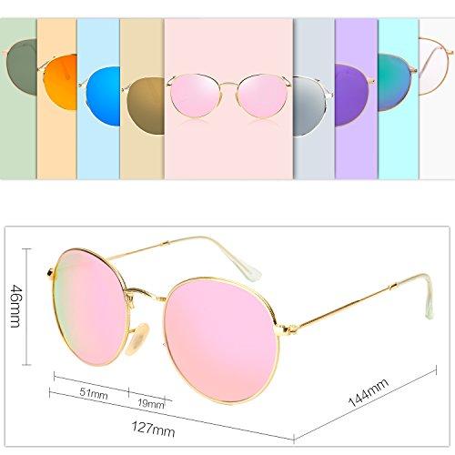 7420de98ad SOJOS Small Round Polarized Sunglasses Mirrored Lens Unisex Glasses SJ1014  3447