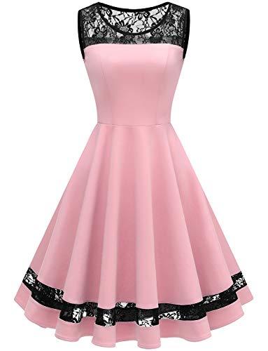 Gardenwed Women's Vintage 1950s Cocktail Swing Dress Retro Sleeveless Prom Party Dress Pink 2XL ()