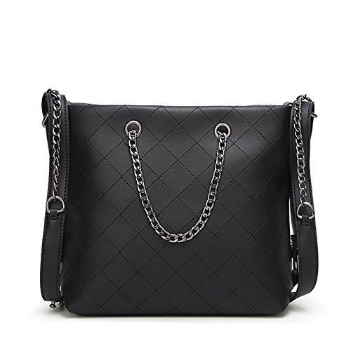 XZW NB Fashion Casual Grande Catena Capacità Tracolla Borsa Messenger Signore Bag Black