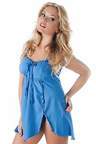 con della bamboletta pizzo Womens Night Split biancheria Shirt Xxl cotone Blue ICzqv4zXnw