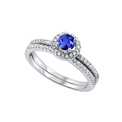 Pink Ring Sapphire Princess (Dazzling Halo Wedding Bridal Matching Band Ring Round Simulated Blue Sapphir 925 Sterling Silver, Size-7)