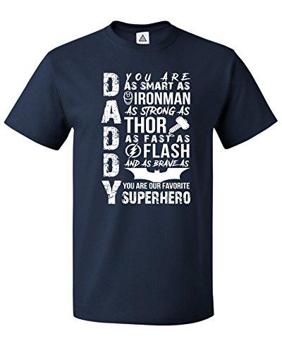 Sheki Apparel Daddy Superhero Present Men's T-Shirt Navy -