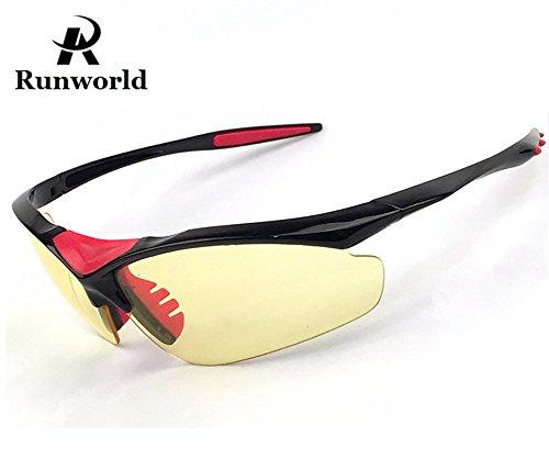 Runworld Men's HD Night View Driving Glasses Polarized Anti-glare Rain Day Night Vision Cycling Sunglasses