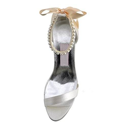 Kevin Fashion MZ607para mujer Open Toe tacón novia Prom de boda satén espalda correa antideslizante sandalias, color Beige, talla 43 EU