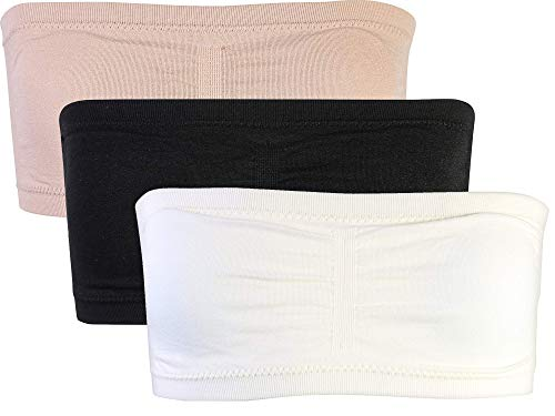 Sweet & Sassy Girls\' Seamless Pull On Bandeau Tube Bra (3 Pack), Nude/Black/Ivory, Size 34A' -